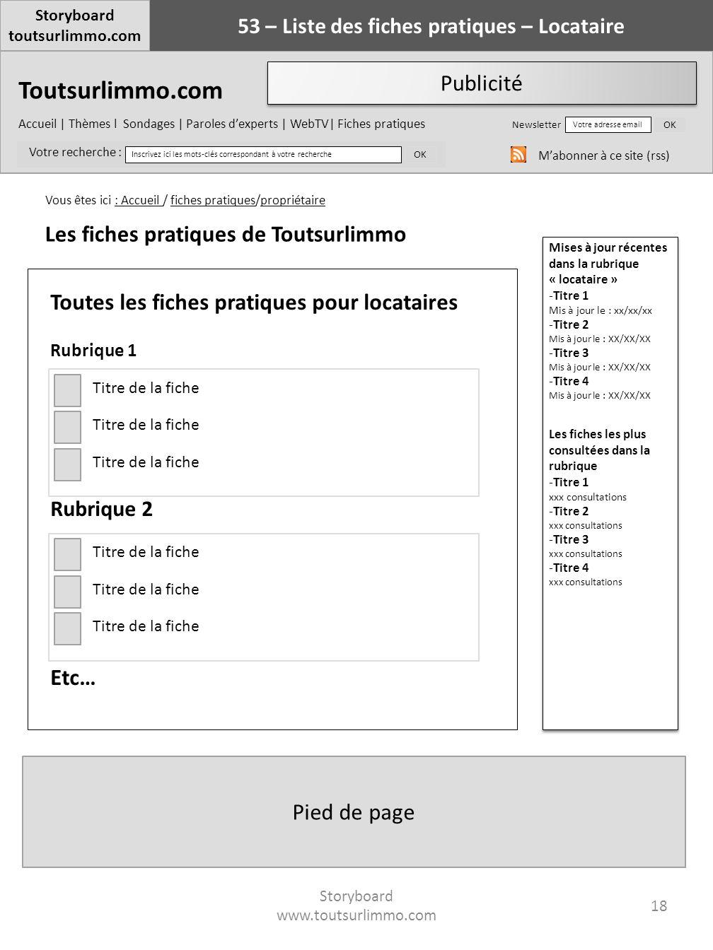 53 – Liste des fiches pratiques – Locataire