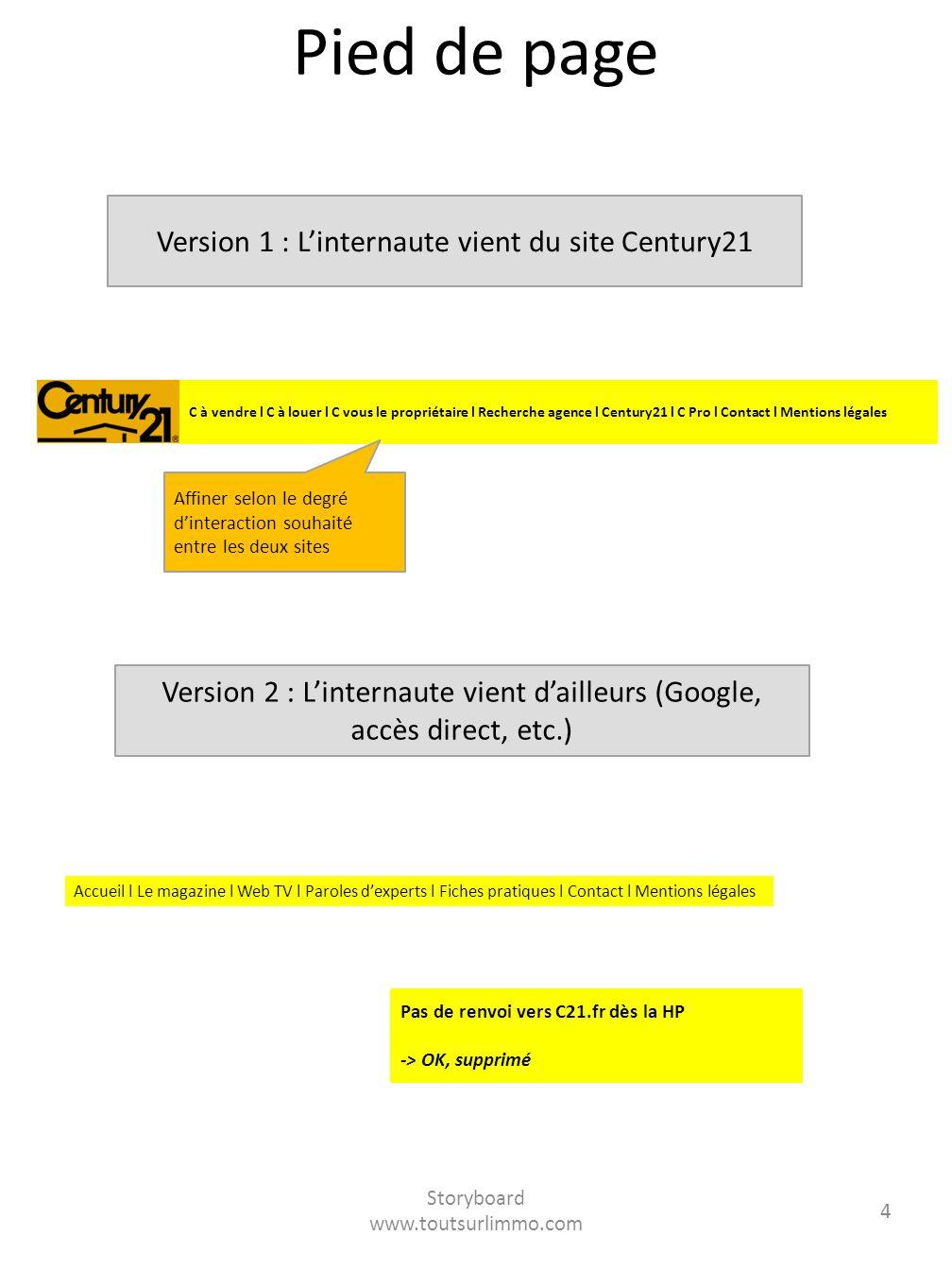 Pied de page Version 1 : L'internaute vient du site Century21