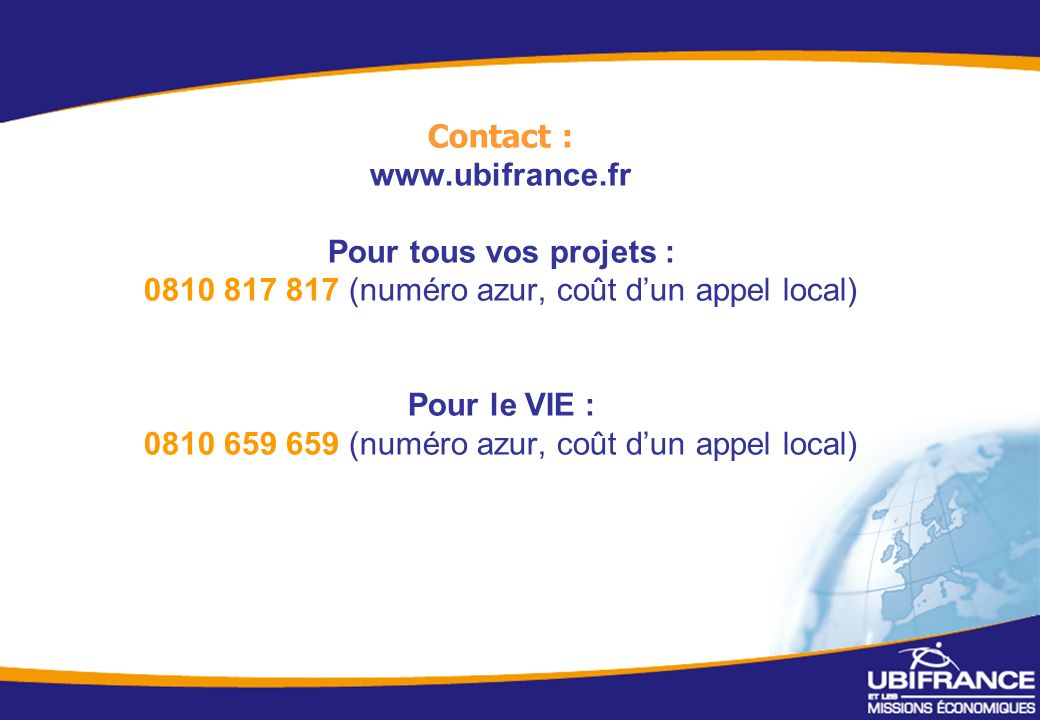 Contact : www. ubifrance