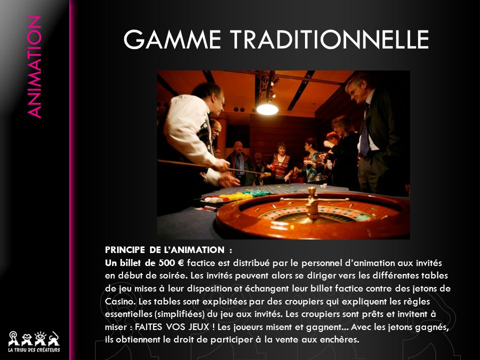 GAMME TRADITIONNELLE PRINCIPE DE L'ANIMATION :