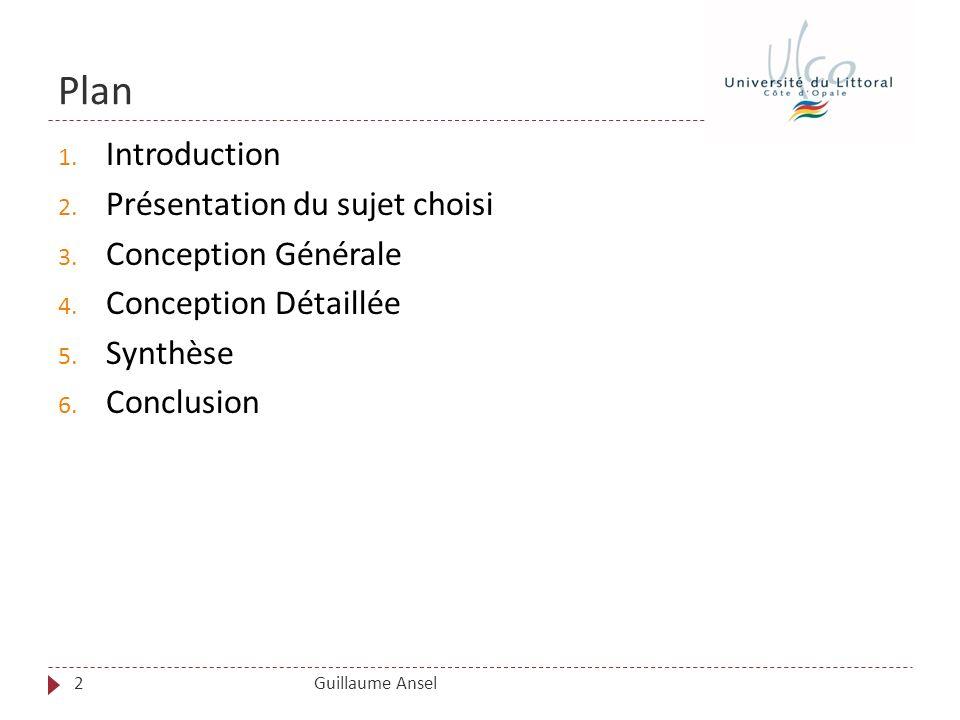 Plan Introduction Présentation du sujet choisi Conception Générale