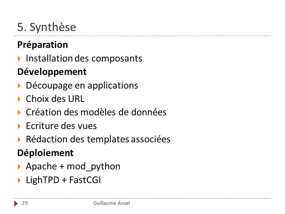 5. Synthèse Préparation Installation des composants Développement