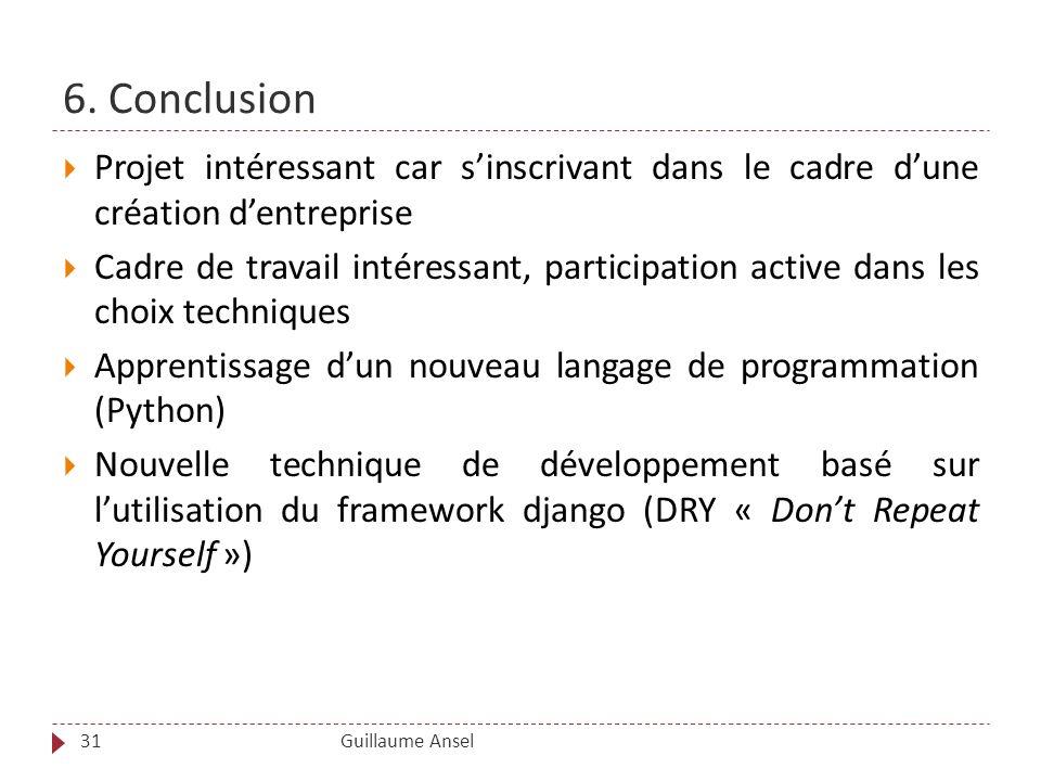 6. Conclusion Projet intéressant car s'inscrivant dans le cadre d'une création d'entreprise.