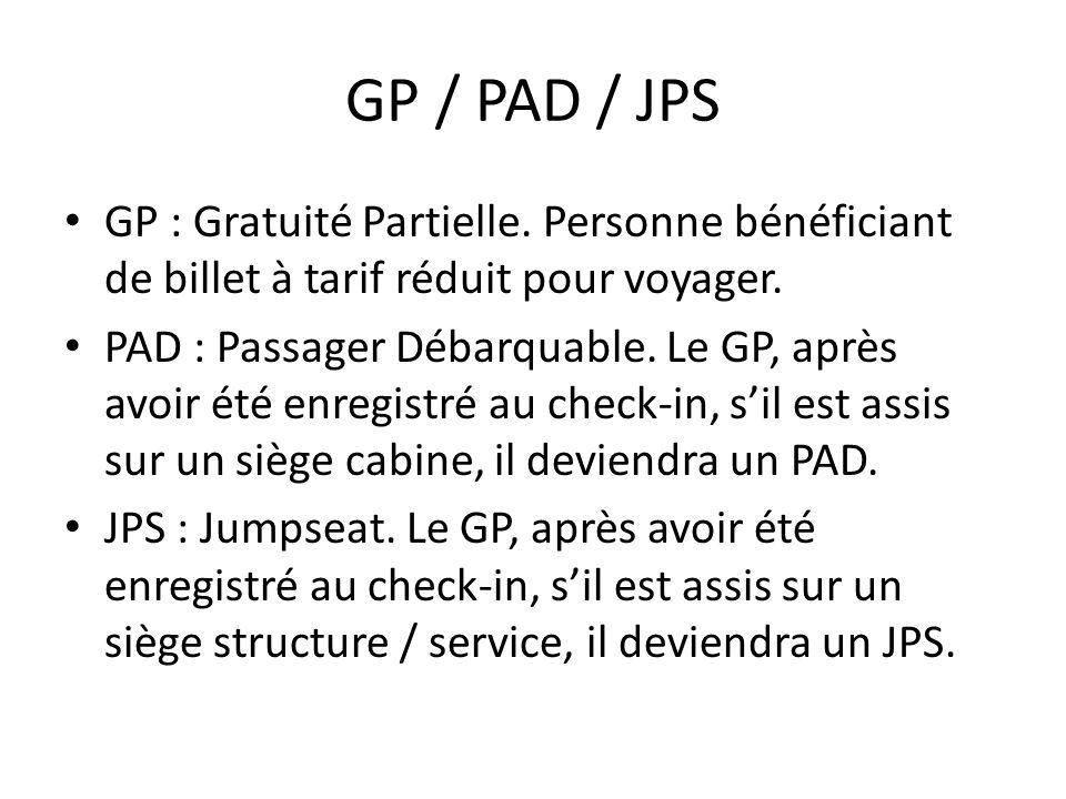 GP / PAD / JPS GP : Gratuité Partielle. Personne bénéficiant de billet à tarif réduit pour voyager.
