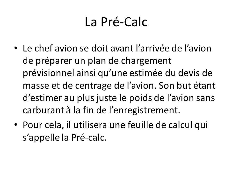 La Pré-Calc
