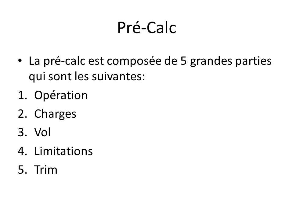 Pré-Calc La pré-calc est composée de 5 grandes parties qui sont les suivantes: Opération. Charges.