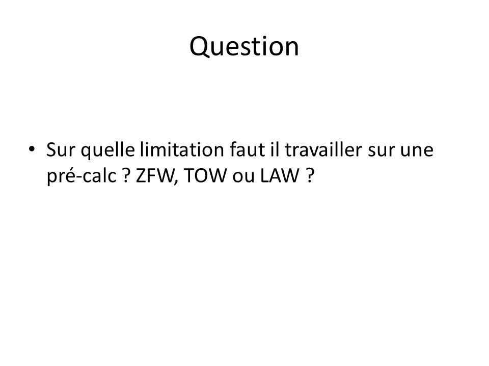 Question Sur quelle limitation faut il travailler sur une pré-calc ZFW, TOW ou LAW