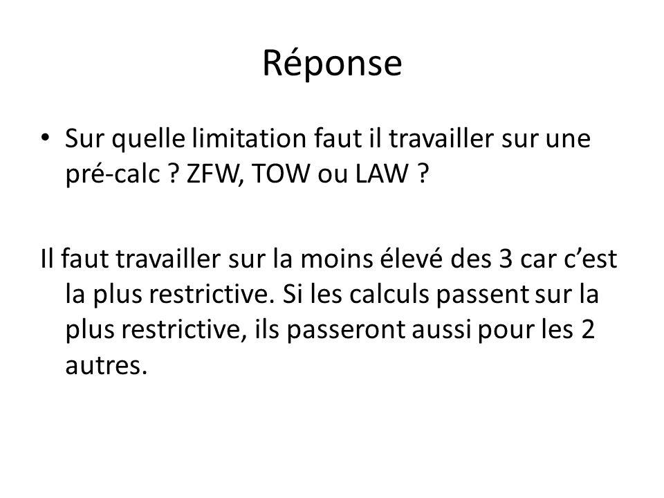 Réponse Sur quelle limitation faut il travailler sur une pré-calc ZFW, TOW ou LAW