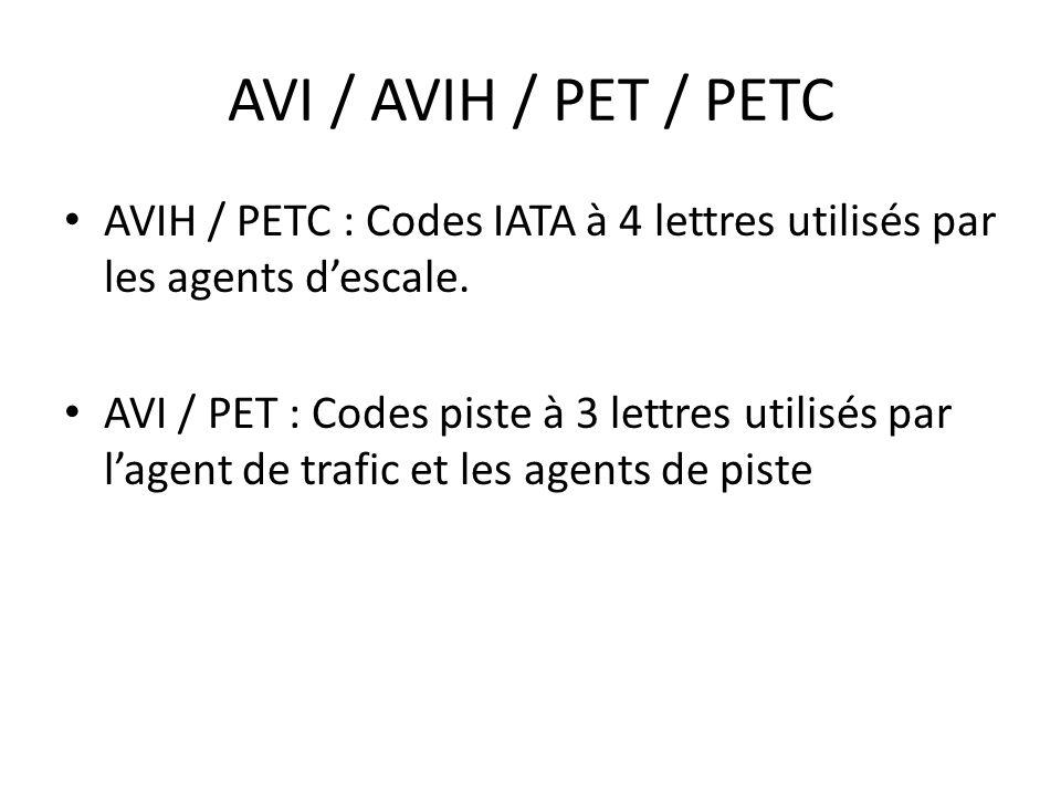 AVI / AVIH / PET / PETC AVIH / PETC : Codes IATA à 4 lettres utilisés par les agents d'escale.