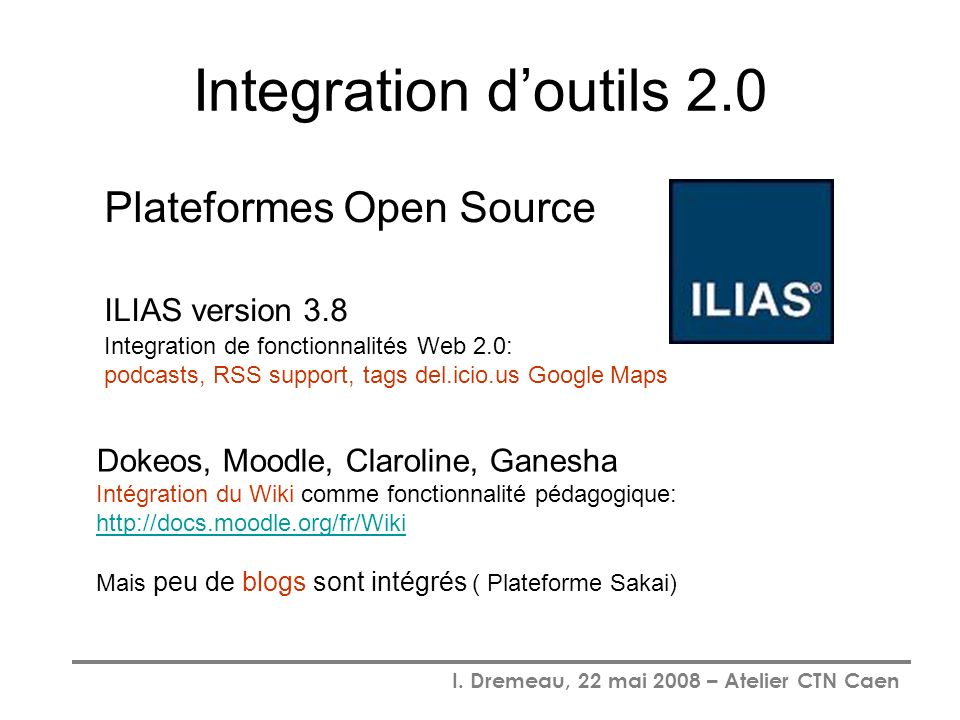 Integration d'outils 2.0 Plateformes Open Source ILIAS version 3.8