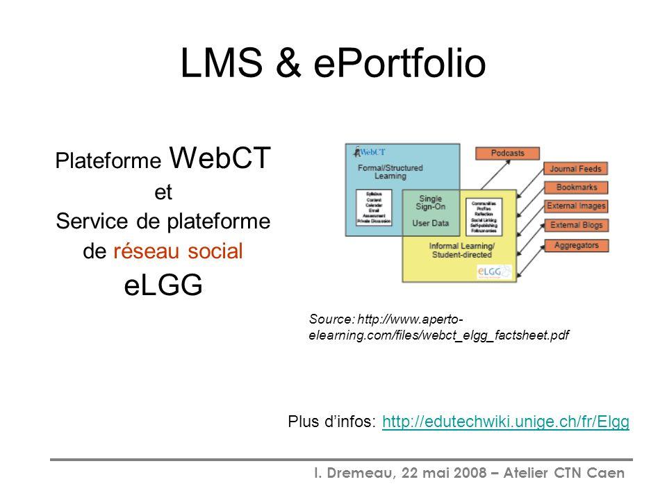 LMS & ePortfolio eLGG Plateforme WebCT et Service de plateforme