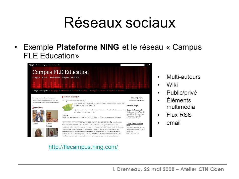 Réseaux sociaux Exemple Plateforme NING et le réseau « Campus FLE Education» Multi-auteurs. Wiki.