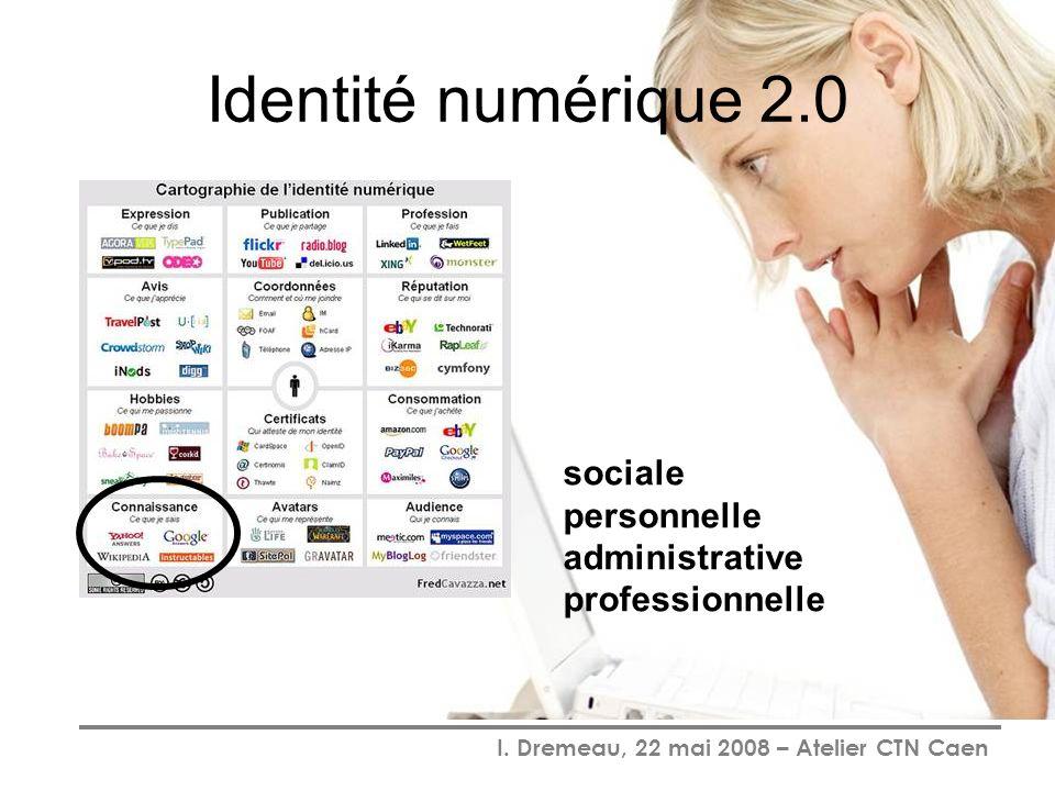 Identité numérique 2.0 sociale personnelle administrative professionnelle