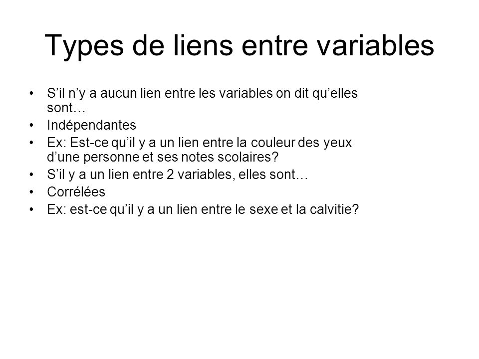 Types de liens entre variables