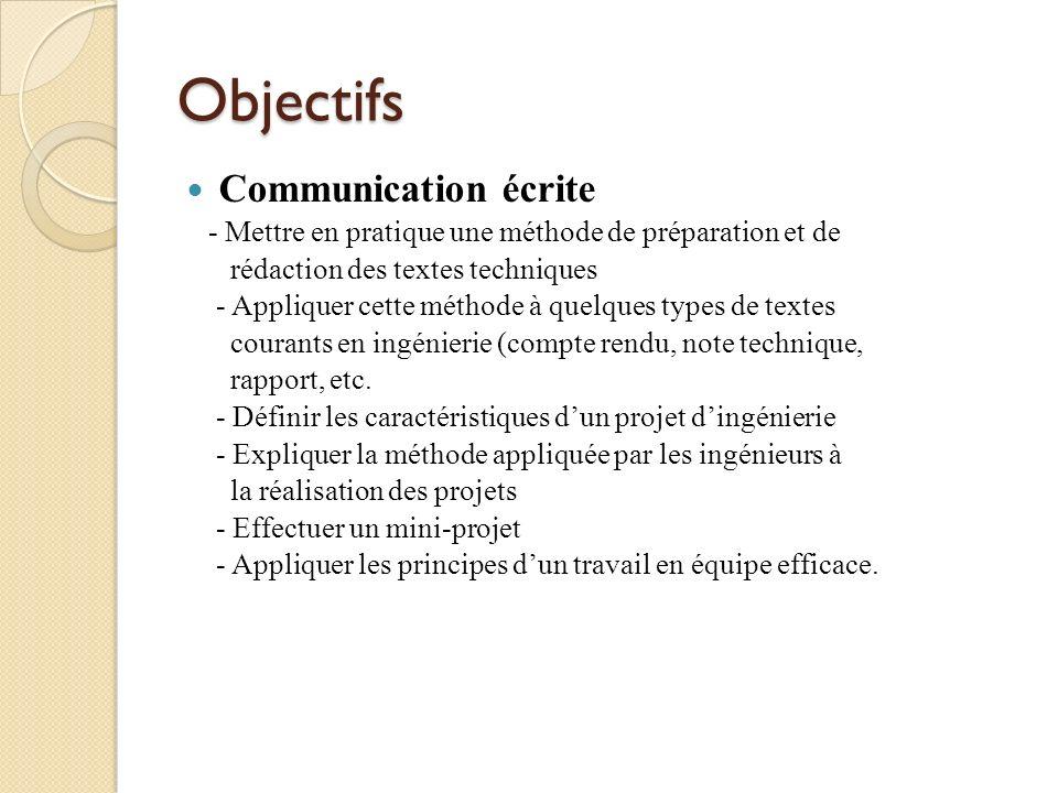 Objectifs Communication écrite