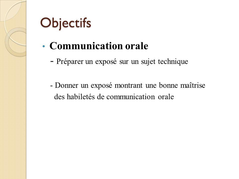 Objectifs Communication orale