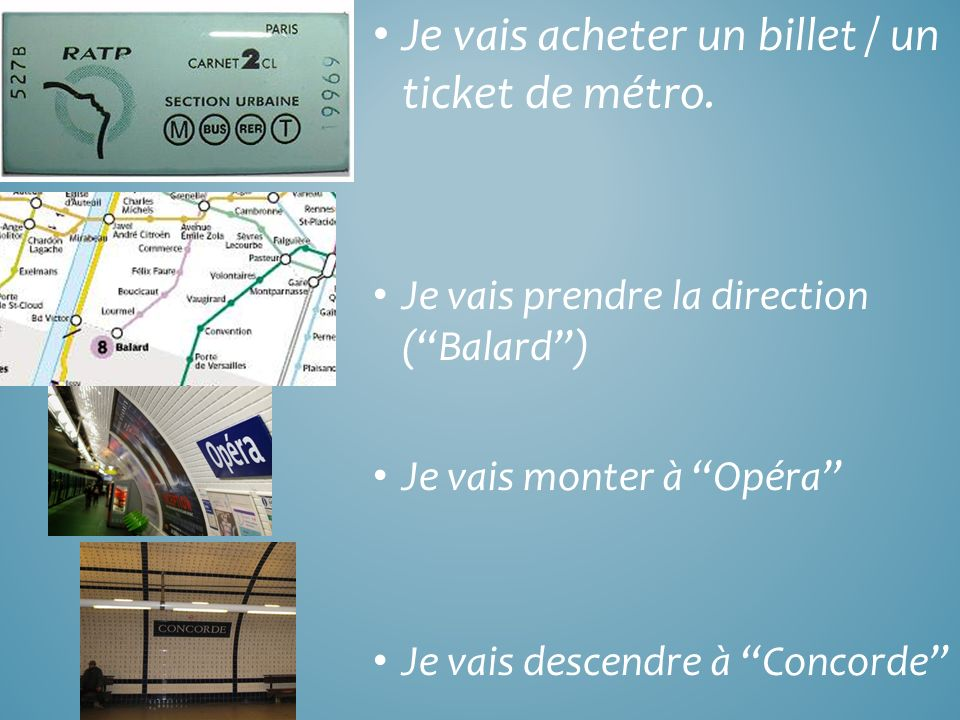 Je vais acheter un billet / un ticket de métro.