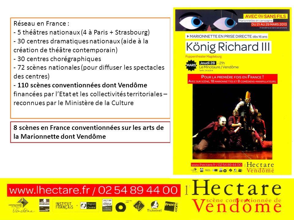 - 5 théâtres nationaux (4 à Paris + Strasbourg)