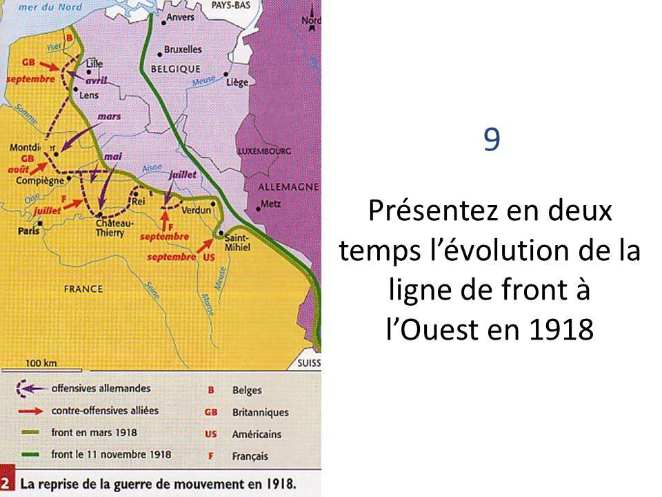 9 Présentez en deux temps l'évolution de la ligne de front à l'Ouest en 1918