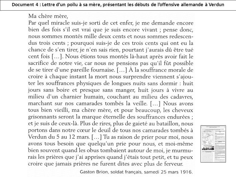 Document 4 : Lettre d'un poilu à sa mère, présentant les débuts de l'offensive allemande à Verdun