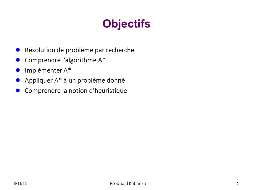 Objectifs Résolution de problème par recherche