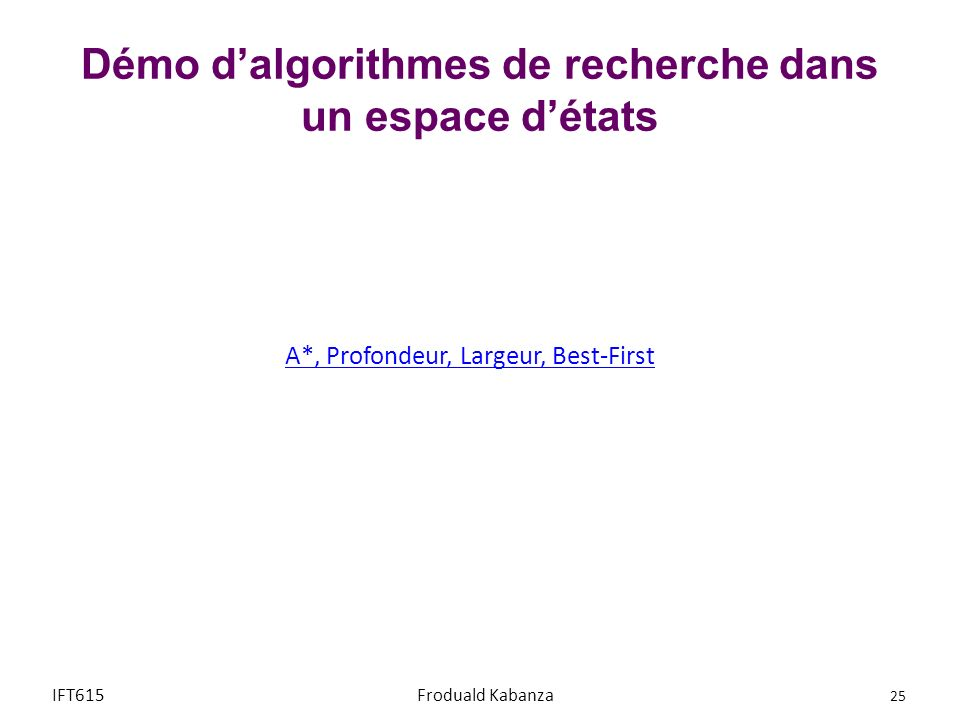 Démo d'algorithmes de recherche dans un espace d'états