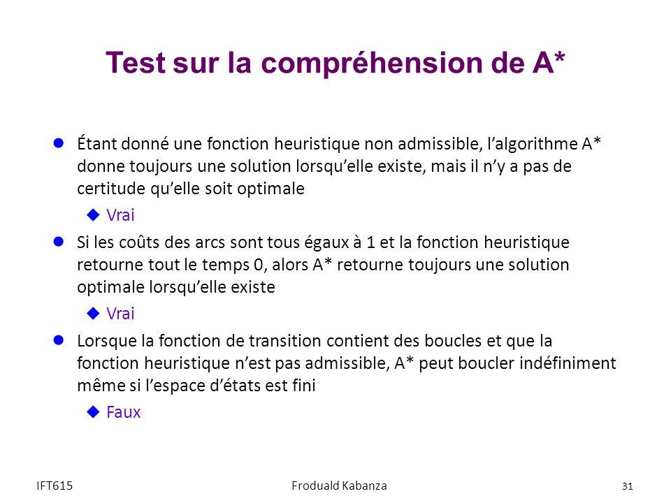 Test sur la compréhension de A*