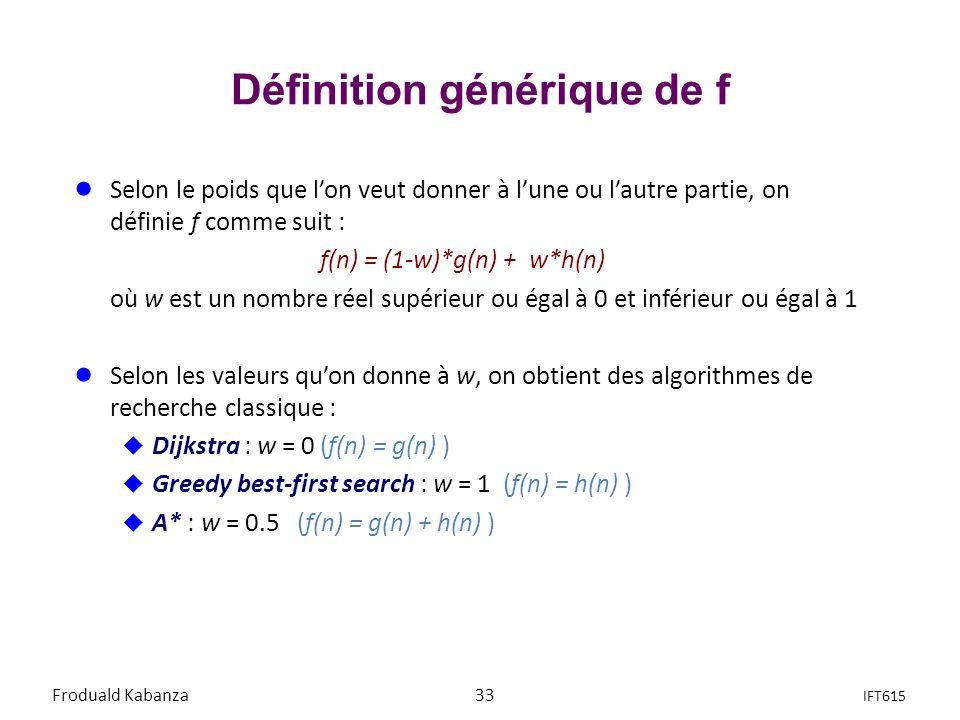 Définition générique de f