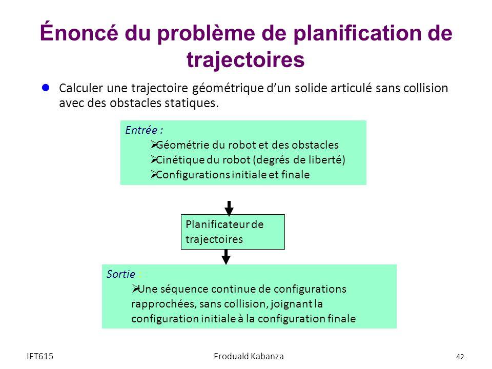 Énoncé du problème de planification de trajectoires