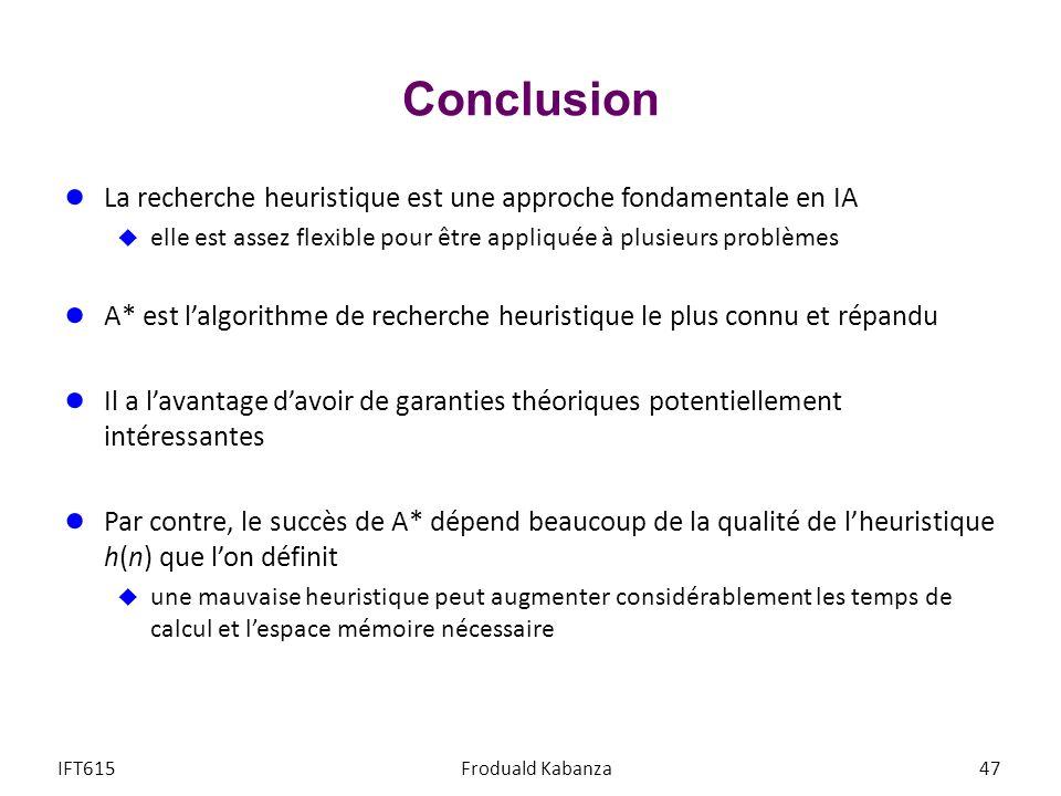 Conclusion La recherche heuristique est une approche fondamentale en IA. elle est assez flexible pour être appliquée à plusieurs problèmes.