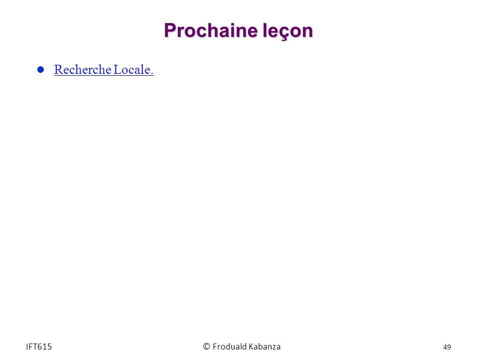 Prochaine leçon Recherche Locale. IFT615 © Froduald Kabanza