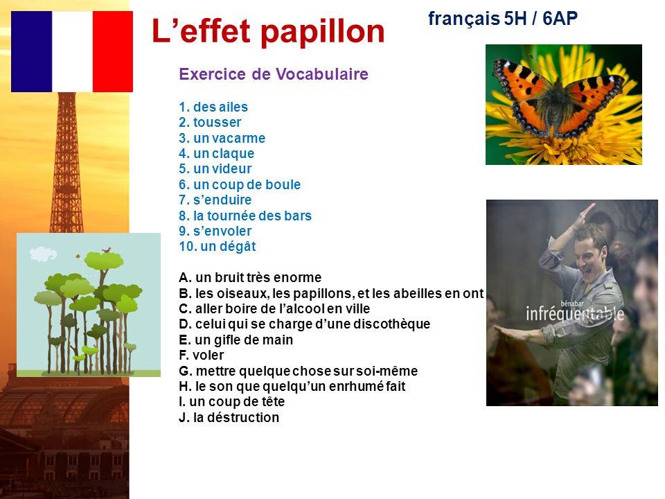L'effet papillon français 5H / 6AP Exercice de Vocabulaire