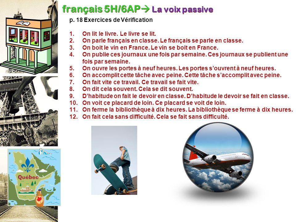 français 5H/6AP La voix passive