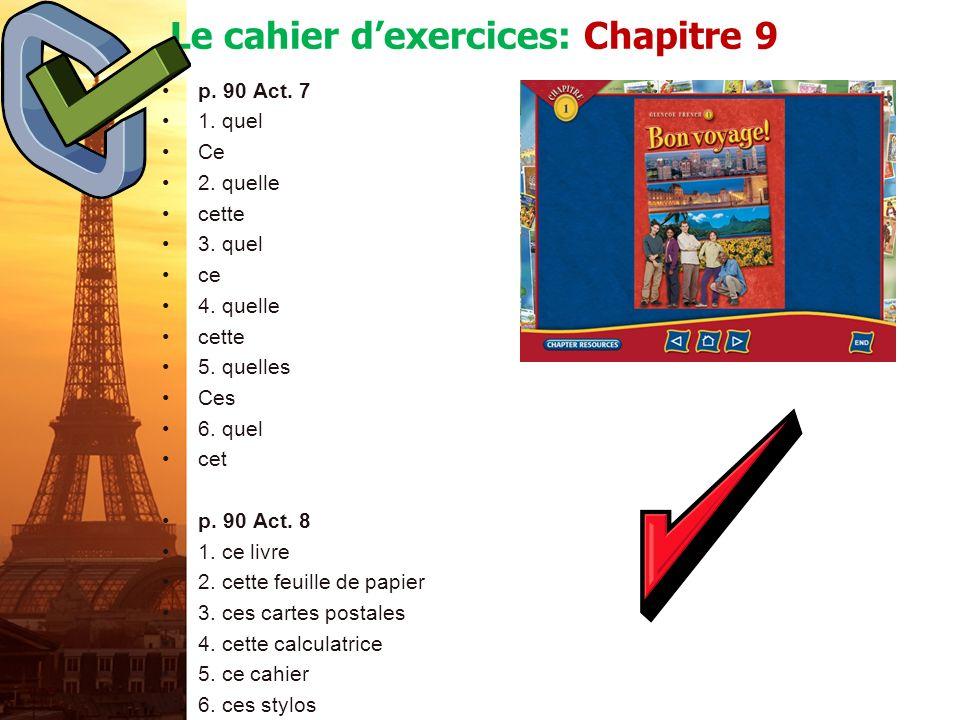 Le cahier d'exercices: Chapitre 9