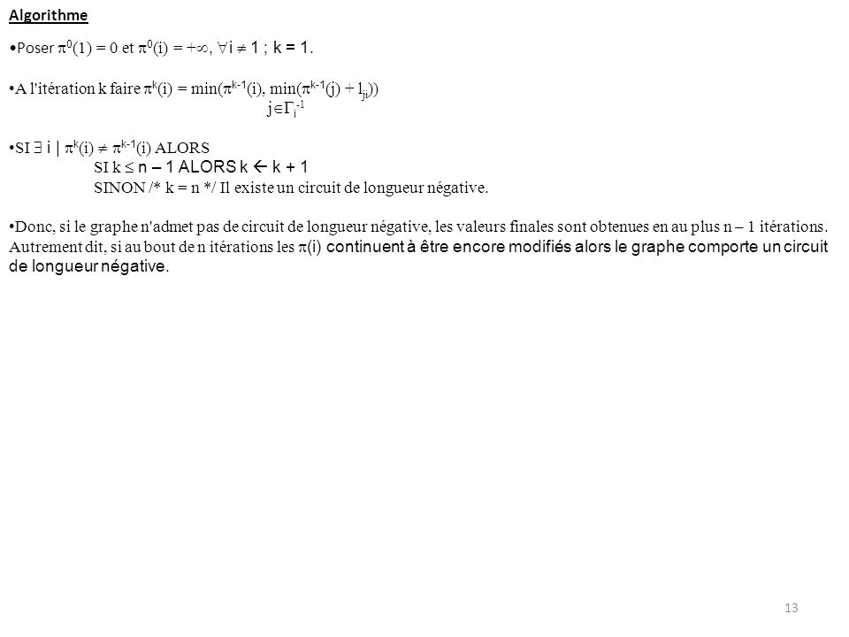Algorithme Poser 0(1) = 0 et 0(i) = +, i  1 ; k = 1. A l itération k faire k(i) = min(k-1(i), min(k-1(j) + lji))