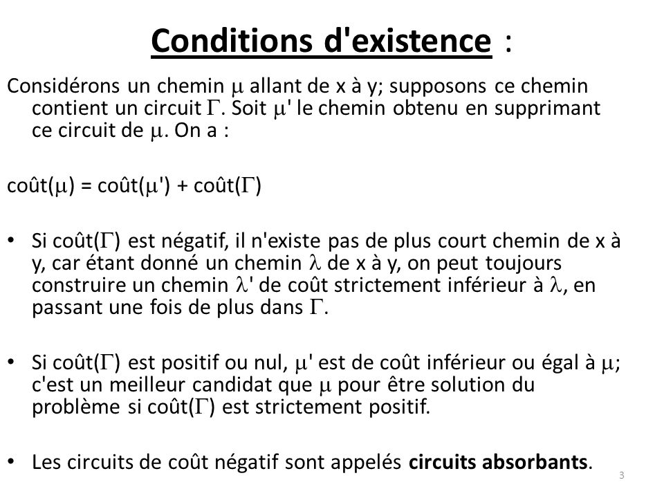 Conditions d existence :