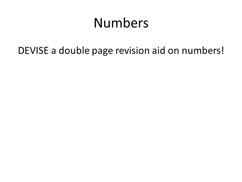 DEVISE a double page revision aid on numbers!