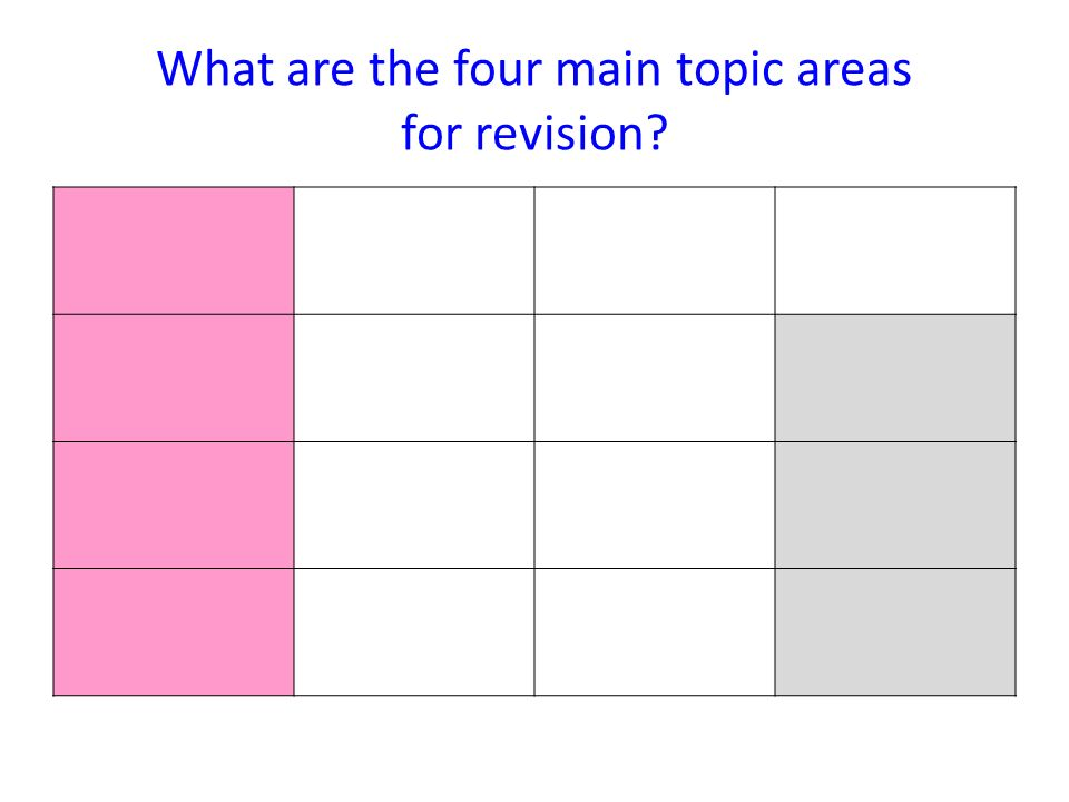 What are the four main topic areas for revision