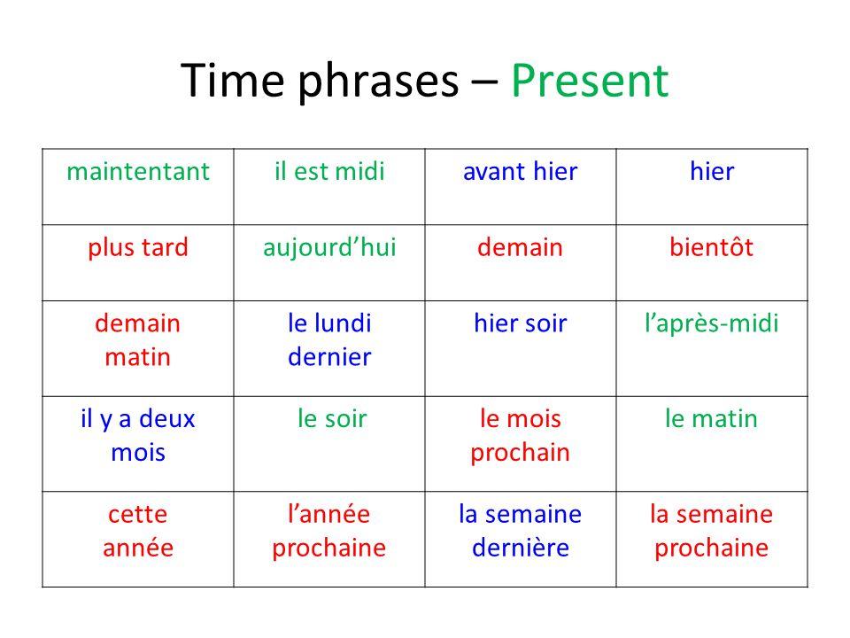 Time phrases – Present maintentant il est midi avant hier hier