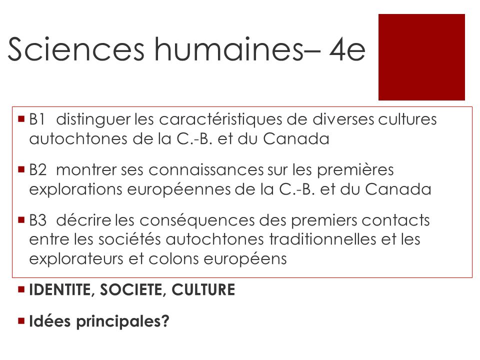 Sciences humaines– 4e B1 distinguer les caractéristiques de diverses cultures autochtones de la C.-B. et du Canada.
