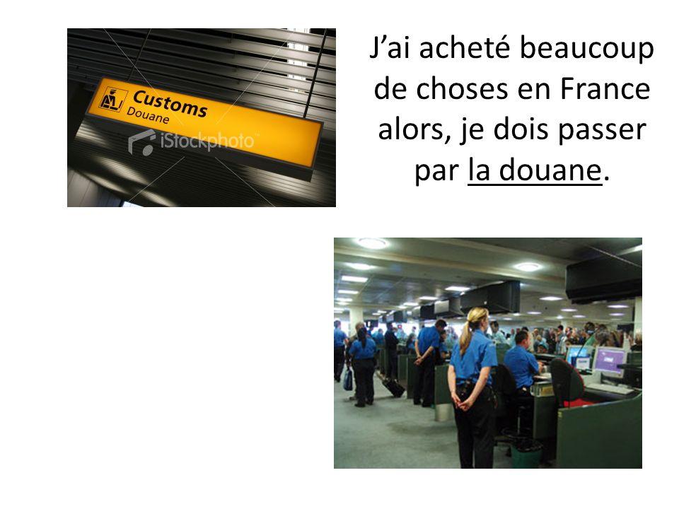 J'ai acheté beaucoup de choses en France alors, je dois passer par la douane.