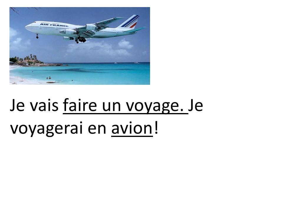 Je vais faire un voyage. Je voyagerai en avion!