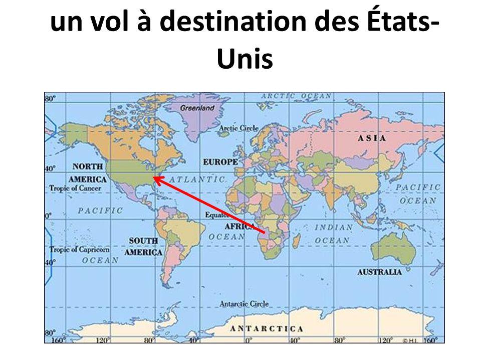 un vol à destination des États-Unis