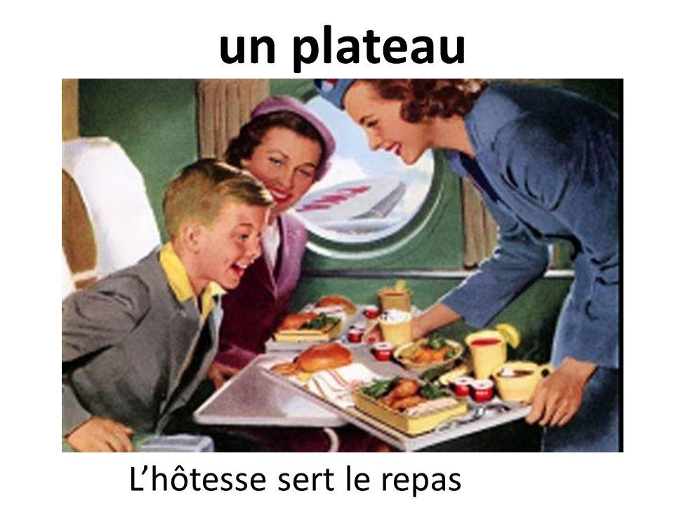 un plateau L'hôtesse sert le repas