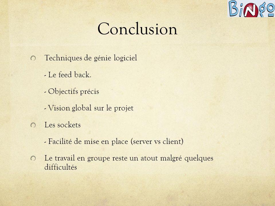 Conclusion Techniques de génie logiciel - Le feed back.