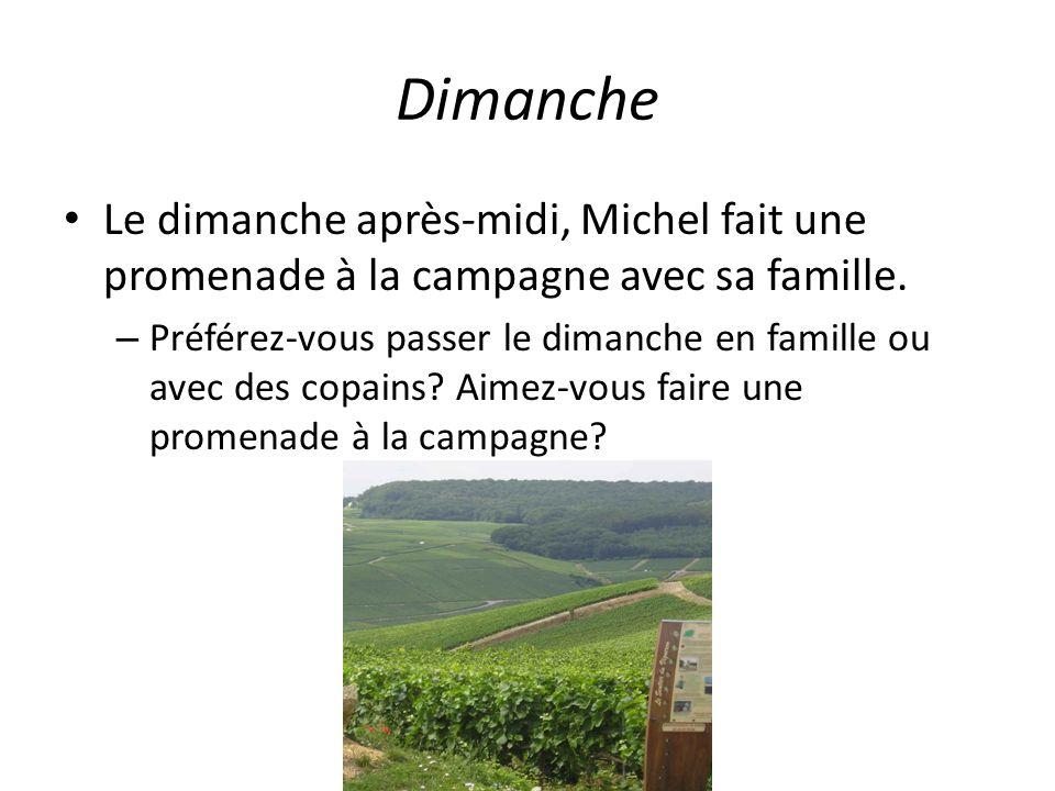 Dimanche Le dimanche après-midi, Michel fait une promenade à la campagne avec sa famille.
