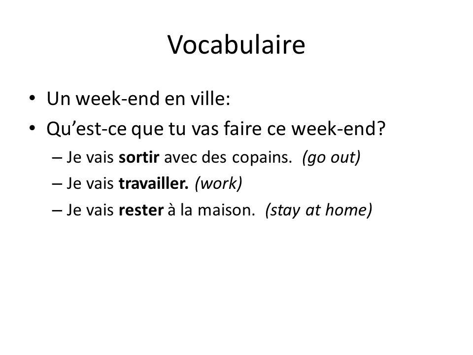 Vocabulaire Un week-end en ville: