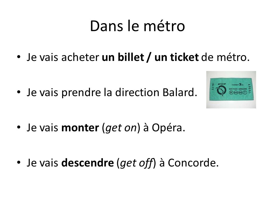 Dans le métro Je vais acheter un billet / un ticket de métro.