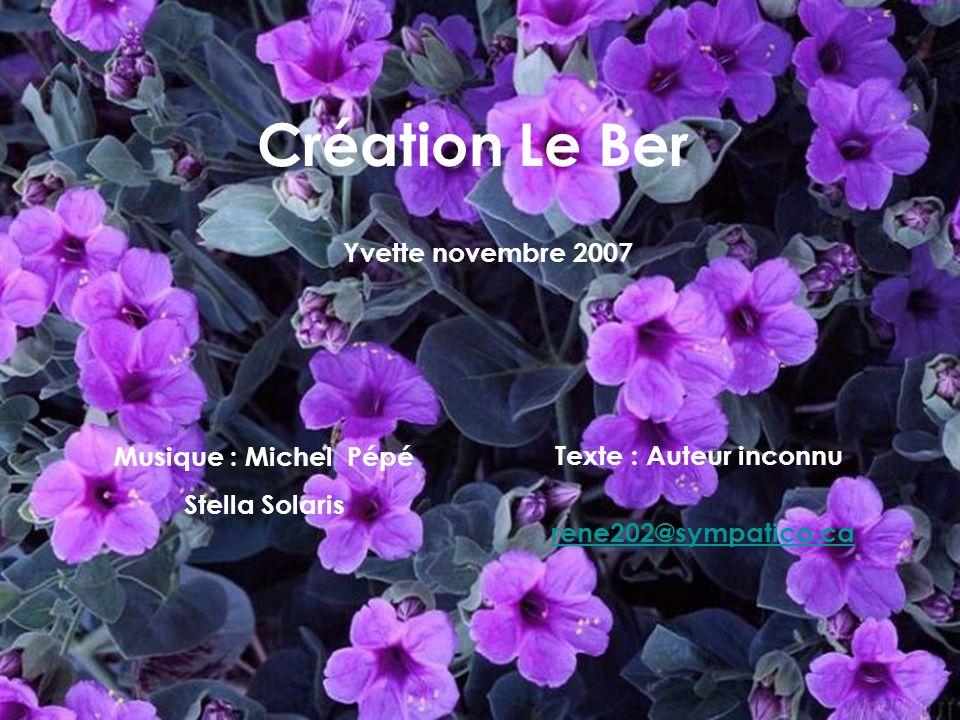 Création Le Ber Yvette novembre 2007 Musique : Michel Pépé