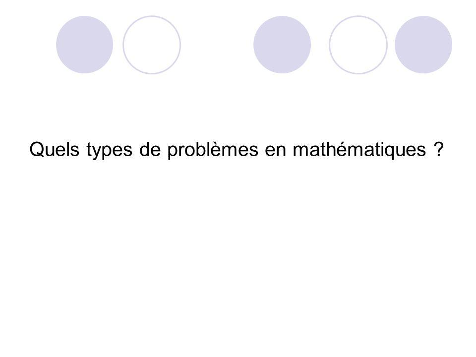 Quels types de problèmes en mathématiques